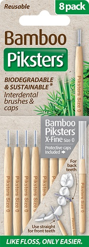 Piksters Bamboo Interdental Toothbrush  - Size 0 Gray (8 Pack)
