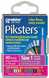 Piksters Interdental Toothbrush – Size 1 Purple (40 Pack)