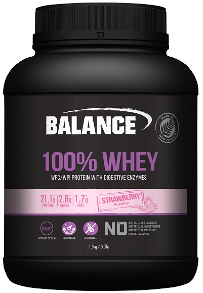 Balance 100% Whey Protein Strawberry 1.5kg - Discontinued Size