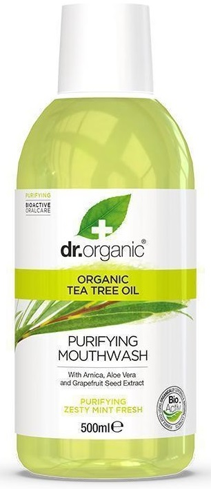 Dr.Organic Tea Tree Oil Purifying Mouthwash 500ml - Zesty Mint Fresh