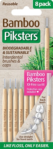 Piksters Bamboo Interdental Toothbrush  - Size 00 Pink (8 Pack)