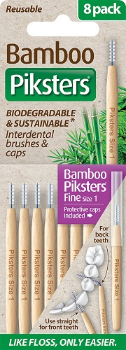 Piksters Bamboo Interdental Toothbrush - Size 1 Purple (8 Pack)