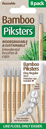 Piksters Bamboo Interdental Toothbrush - Size 2 White (8 Pack)