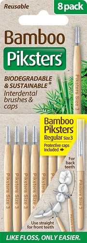 Piksters Bamboo Interdental Toothbrush - Size 3 Yellow (8 Pack)