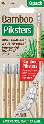 Piksters Bamboo Interdental Toothbrush - Size 4 Red (8 Pack)