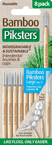 Piksters Bamboo Interdental Toothbrush - Size 5 Blue (8 Pack)
