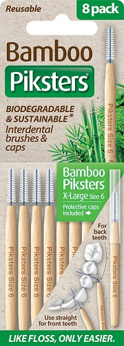 Piksters Bamboo Interdental Toothbrush - Size 6 Green (8 Pack)