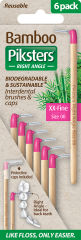 Piksters Bamboo Right Angle Interdental Toothbrush - Size 00 Pink (6 Pack)
