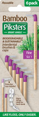 Piksters Bamboo Right Angle Interdental Toothbrush - Size 1 Purple (6 Pack)
