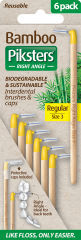 Piksters Bamboo Right Angle Interdental Toothbrush - Size 3 Yellow (6 Pack)