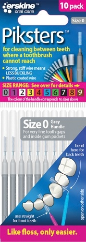 Piksters Interdental Toothbrush – Size 0 Gray (10 Pack)